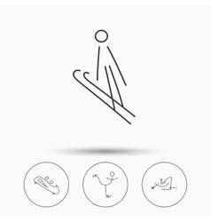 Fishing figure skating and bobsled icons vector image vector image