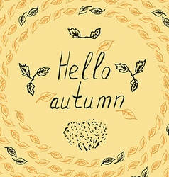 hello autumn leves sketch vector image vector image