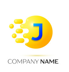 J letter splash yellow dots and circle bubble vector