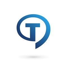 Letter T speech bubble logo icon design template vector image vector image