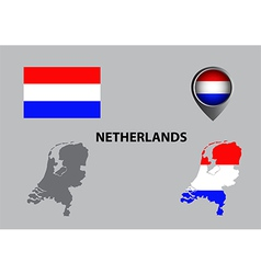 Map of Netherlands and symbol vector image