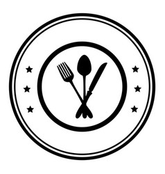 monochrome circular frame with cutlery vector image vector image