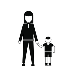 Mother and son icon vector image