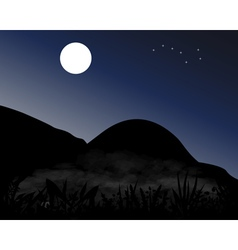 Mountains at night in the moonlight vector