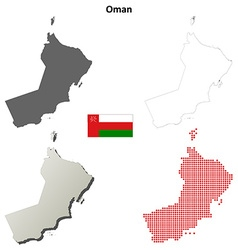 Oman outline map set vector
