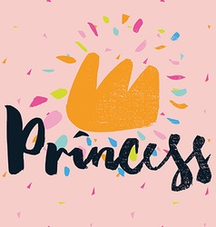 Print for t-shirt princess hand lettering vector