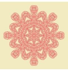 Red mandala doodle print vector