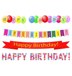 Set of labels Happy Birthday vector image vector image
