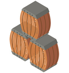 three wooden barrels in 3d design vector image