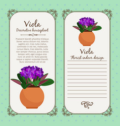 Vintage label with viola plant vector