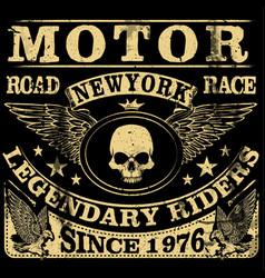 Vintage motorcycle hand drawn grunge vintage vector