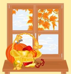 Window with fruits healthy food autumn theme vector image