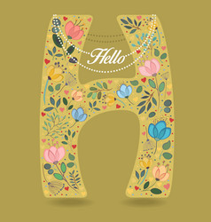 yellow letter h with floral decor and necklace vector image