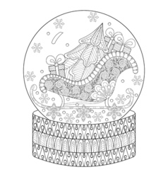 Zentangle snow globe with sledge christmas tree vector