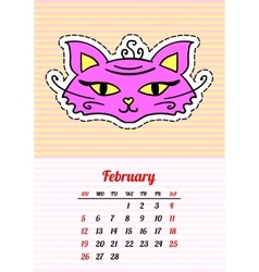 Calendar 2017 with cats february in cartoon 80s vector