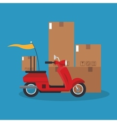Box and motorcycle of delivery concept design vector