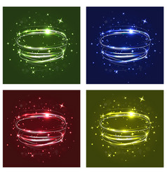 Neon crossed circles light lines effect set of vector