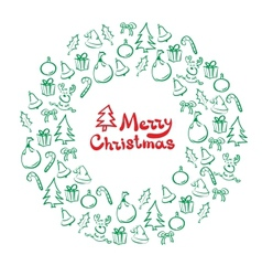 Christmas wreath of sketch doodles vector image