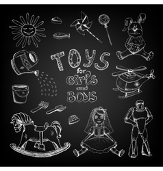 Chalkboard toys for girls and boys vector image
