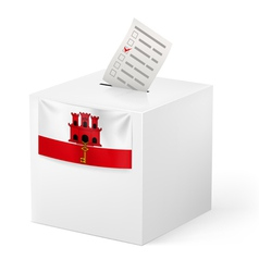 Ballot box with voting paper gibraltar vector