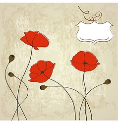 Poppies floral background vector