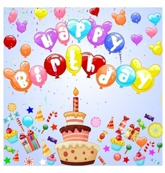 Birthday background with colorful balloon vector