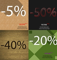 50 40 20 icon set of percent discount on abstract vector