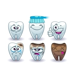 Funny cartoon teeth set vector