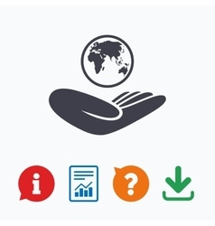 World insurance sign hand holds earth vector