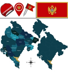 Montenegro map with named divisions vector