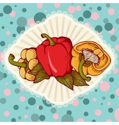 Fresh colored sweet bulgarian bell peppers vector