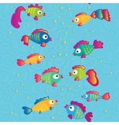 Fishes communicate cartoon seamless pattern vector