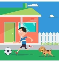 Happy boy playing football with dog vector