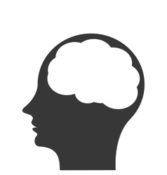 Head profile witn brain icon vector