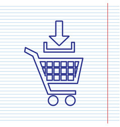 Add to shopping cart sign navy line icon vector