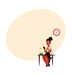 Black businesswoman using smartphone having vector