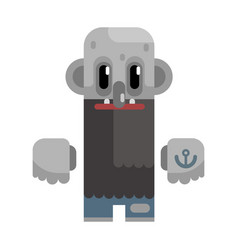 Bold tramp with long beard and grey skin vector