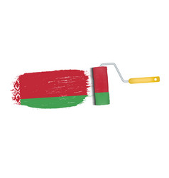 Brush stroke with belarus national flag isolated vector