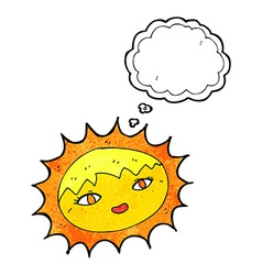 Cartoon pretty sun with thought bubble vector