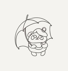 Cute panda with an umbrella wildlife ecology vector
