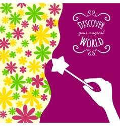 Decorative card with hand holding magic wand vector image