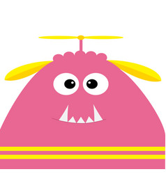 Funny monster head with fang tooth and propeller vector