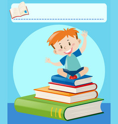 happy boy sitting on big books vector image