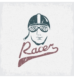 head of racer vintage grunge design template vector image