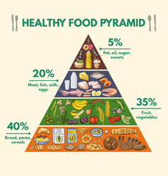 Healthy food pyramid infographic pictures with vector