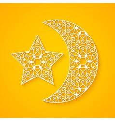 Openwork moon and star vector