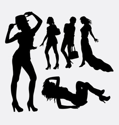 People female lifestyle silhouette vector image