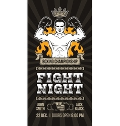 Poster announcement boxing championship vector
