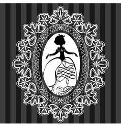 Princess in lace oval frame vector image vector image