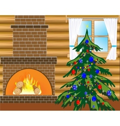 Room with natty fir tree vector image